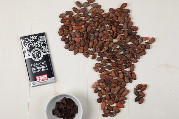 Chocolate bar next to coffee beans forming the shape of Africa
