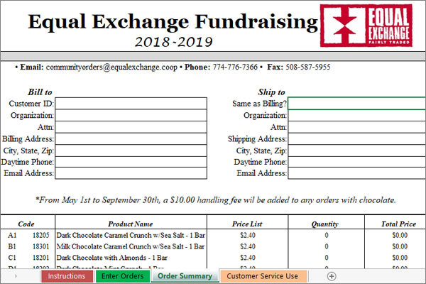 Wrap Up Your Fundraiser | Equal Exchange Sub Fundraiser Order Form on fundraiser application form, popcornopolis fundraiser form, grocery list form, statement form, satin hands fundraiser form, fundraiser flyer, 1099 tax form, fundraiser catalog,
