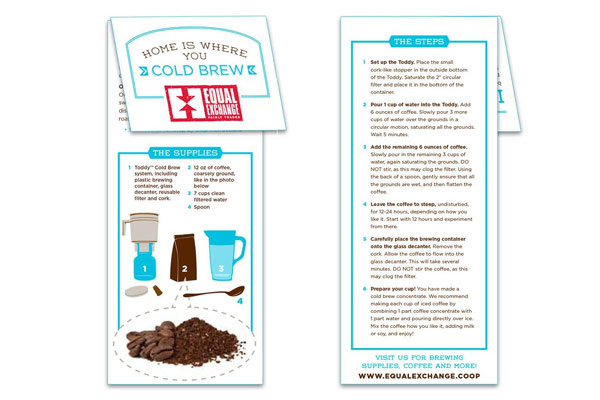 Cold Brew Brewing Instructions Pamphlet