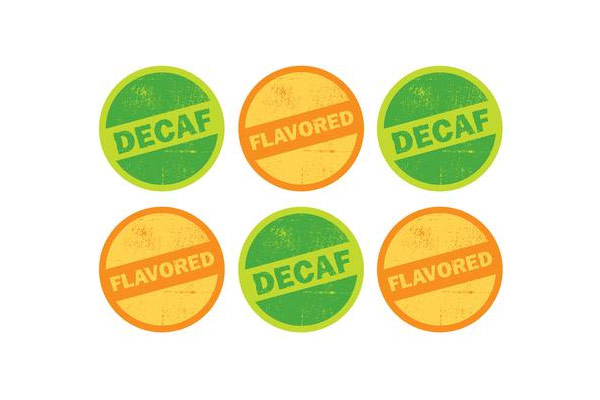 Flavored and Decaf Stickers