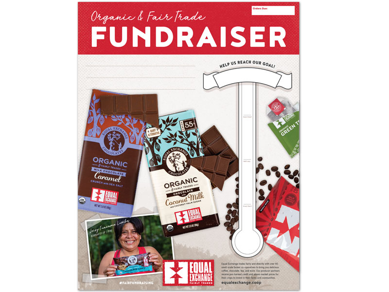 Organic and Fair Trade Fundraiser poster featuring a fillable goal thermometer