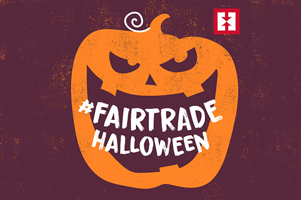 Pumpkin graphic saying Fair Trade Halloween