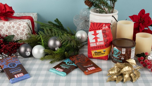 Holiday gifts of chocolate, cocoa and coffee with festive decorations