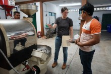 EE lead roaster Sarah Hrisak running a training with members of the roasting team at CESMACH