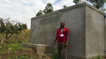 One of the water tanks constructed at the Bulenga Clinic.  Funds raised from the Congo Coffee Project contributed more than 25% of the funds for the project.